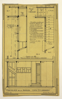 Design for a mass-operational house by Guimard, detailing the construction of the staircase.