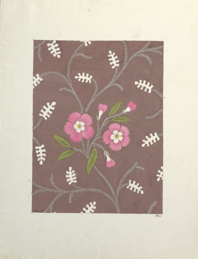 Two pink flowers, green leaves, on stylized vines, scattered white stylized fern heads on tan ground.