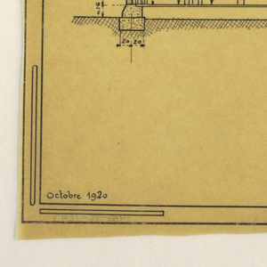 Design for a mass-operational house by Guimard. Design shows transversal cross section of the house
