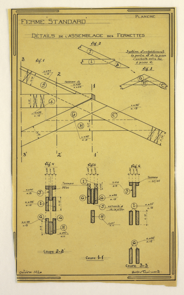 Design for a mass-operational house by Guimard, construction details for supports.