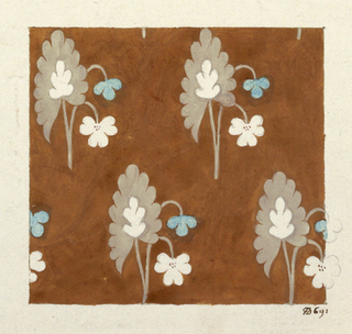 Stylized floral patterns, blue, tan and white on tan ground.