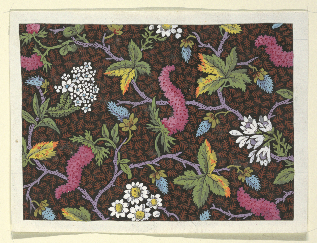 White and pink floral design, purple branches on black ground with rust fern pattern.