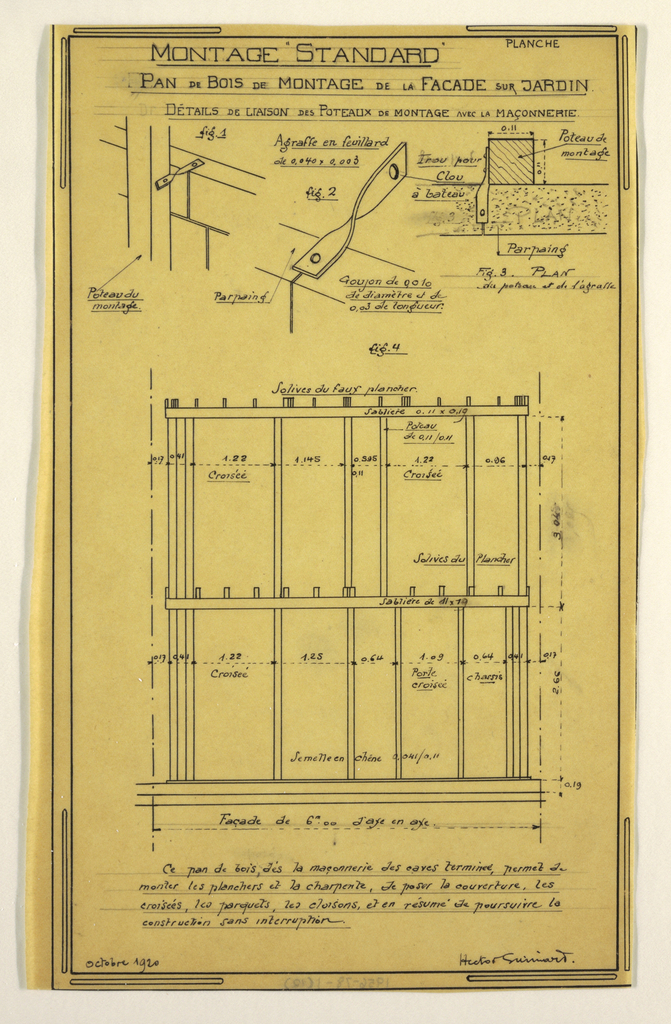 Design for a mass-operational house by , showing the construction of wooden columns for the facade facing the garden.