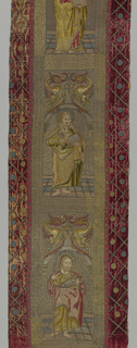 Figures of three Saints, each standing below rounded arch, above which appear confronted winged dragons. Figures worked in multi-colored silks with much shading; details symbols and halos in metal thread; background of couched gold thread and pavement of vari-colored blocks in couched gold. Saints: top, St. John or St. Barbara; middle, St. Peter; bottom, St. James the Great.