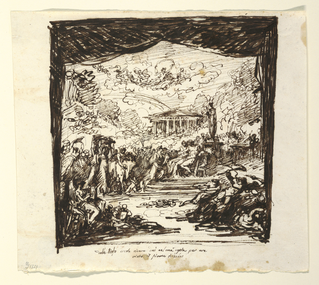 "Horizontal rectangle. Stage framing is shown.  Hercules and Dejanira sit in middle ground. Pageant of nymphs bringing gifts approaches from left, foremost carries horn of Achelous as cornuciopia. Temple with inscription ""Concordia"" shown in background. Goddess in carriage drawn by swans shown in sky. In foreground at left, the genius of History, at right, flying demons. Caption: ""dalle Ninfe ercole receve doni nel cornacopia per ave/ vinto il fivme Achelao."" Reverse in opposite direction: pen sketch for central group and for two nymphs carrying baskets upon their heads."