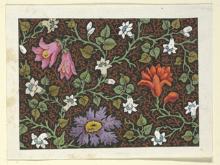 Pink, purple, orange flowers intertwined with small white flowers with blue centers, trailing green vines on black and rust patterned ground.