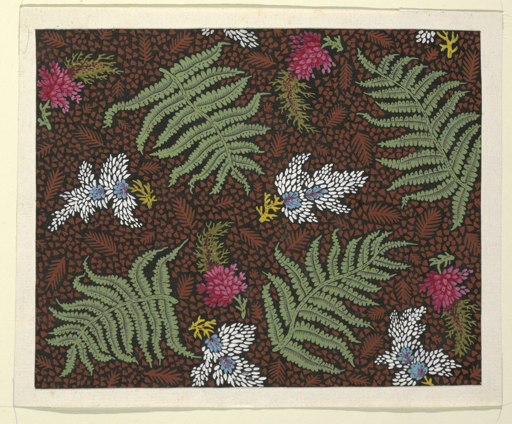 Four green ferns, four red flowers, four blue and white flowers against black background with small brown triangles and ferns.