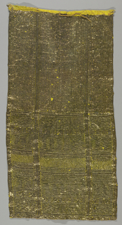 Panel of silk embroidered with metal foil strips in a dense, wrapping type stitch so as to completely cover the foundation fabric, whose yellow color adds luster to the embroidery.  The embroidery is an all-over pattern of squares and rectangles, each filled with a different texture, several resembling different types of herringbone.  These textures are created by the spacing and length of the stitches, as well as by tight wrapping and re-wrapping similar to drawn-work.