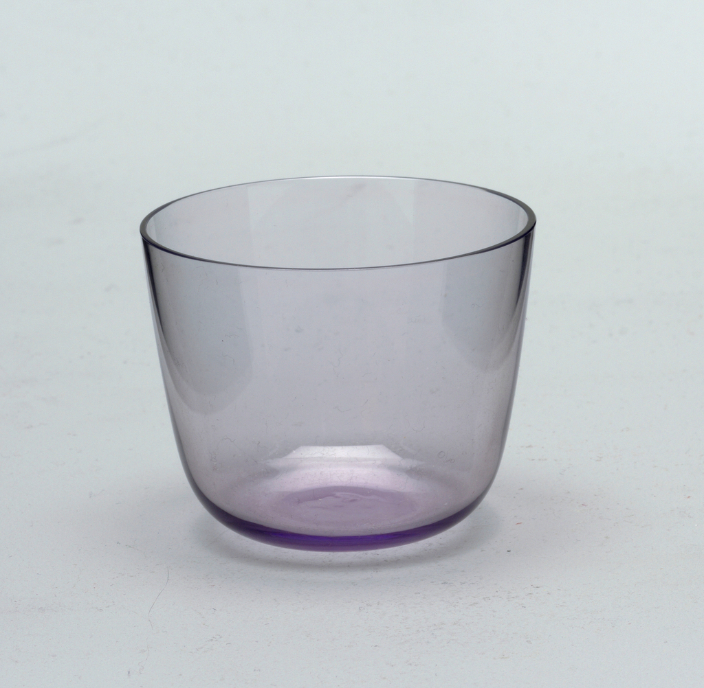 Thin mouth-blown crystal, amethyst cocktail tumbler.