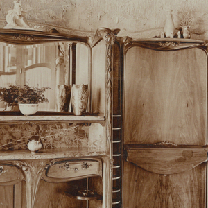 Photograph of the sideboard in Hector Guimard's house at 22 rue Mozart. Photograph shows various shelves and wall behind.