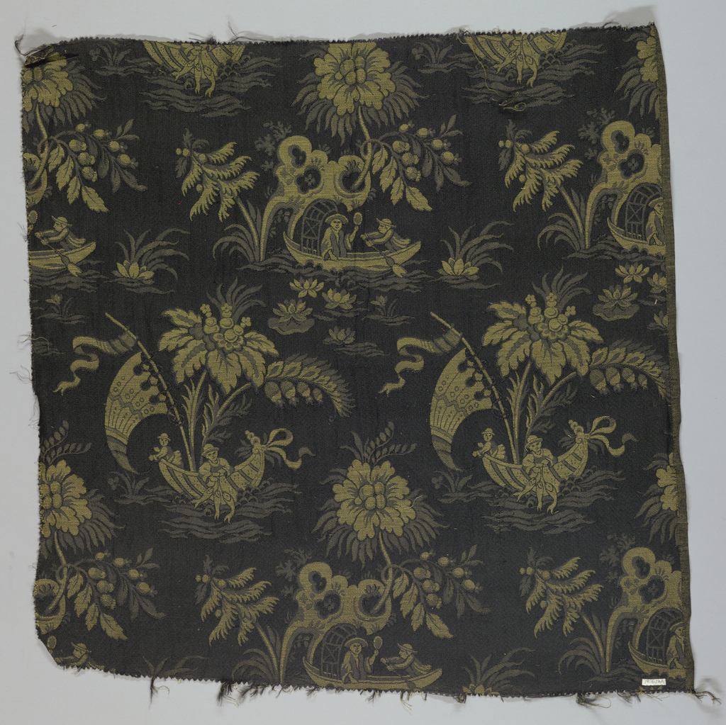 Reproduction textile inspired by French eighteenth century fabric in the Cooper Union Museum collection. Design has figures in Chinese costume fishing in a small boat with water lilies and other plants on a black ground.