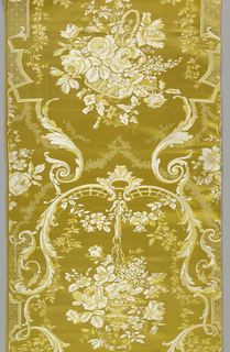 Length of yellow satin has a pattern of large baskets of flower hanging beneath arches formed by large pendant acanthus leaves. Pattern in extra wefts of white and yellow silks on a yellow satin ground. Designed and manufactured in the eighteenth-century style.