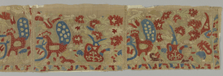 Panel made up of three sections pieced together with bands of linen bobbin lace. Embroidered design of vases, two with handle and spout, containing flowers and flanked by peacocks, birds and animals. Narrow floral border on right and along bottom. One end has linen bobbin lace edging. Embroidery in red, blue, green, yellow and white silks.