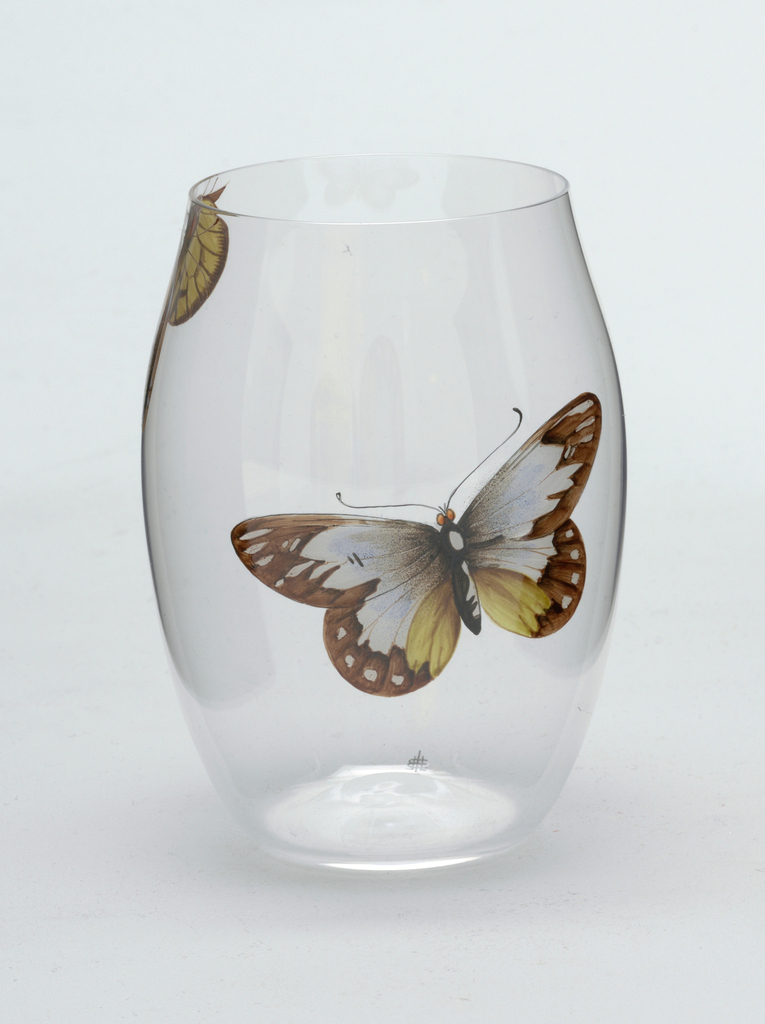 Mouth-blown convex crystal tumbler with painted butterfly.