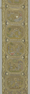 Hanging or part of vestment of Eastern church. Eleven scenes from the life of Christ, with a short inscription between each scene. Loops for hanging at several places.