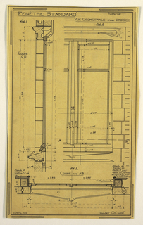 Design for a mass-operational house by Guimard, depicting construction of a standard window.