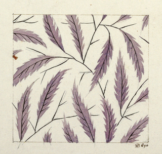 Purple leaf design, black branches on white ground.