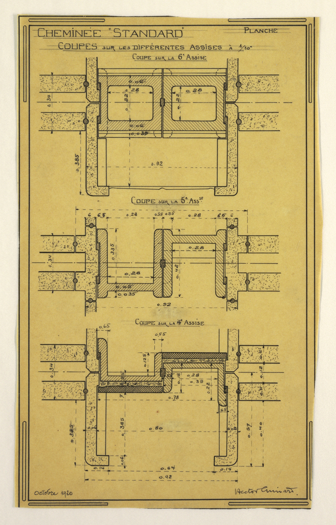 Design for a mass-operational house by Guimard, detailing construction of the chimney.