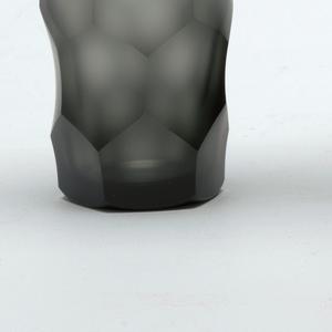 Mouth-blown smoke-grey glass, football cut, semi-polished tapered beaker.