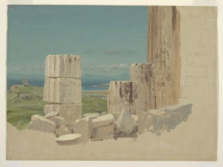 Oil sketch of ruined columns. The lower part of a standing column and the neighboring four fragments of columns, in the western part of the south side of the Parthenon, shown from the inside. Detailed landscape background. Part of the wall is sketched upon the lateral margin which shows, as does the bottom margin, brownish grounding color.