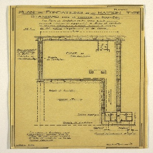 Design for a mass-operational house by Guimard. This design shows the plan for the foundation.