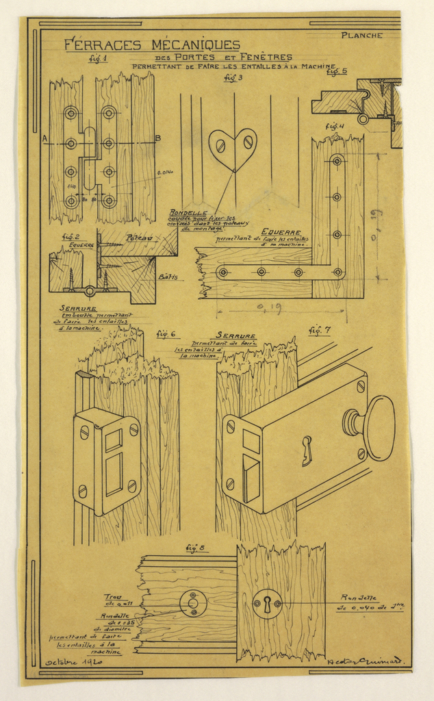 Design for a mass-operational house by Guimard, detailing the metal joints for doors and windows.