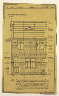 Design for a mass-operational house by Guimard. This plan shows the elevation of the facade facing the street.