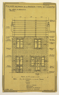 Design for a mass-operational house by Guimard, detailing the construction of cement lintels.