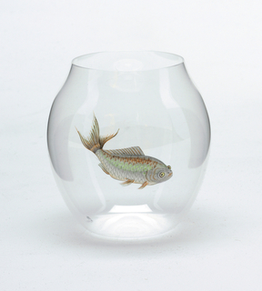 Mouth-blown crystal balloon tumbler with painted fish.
