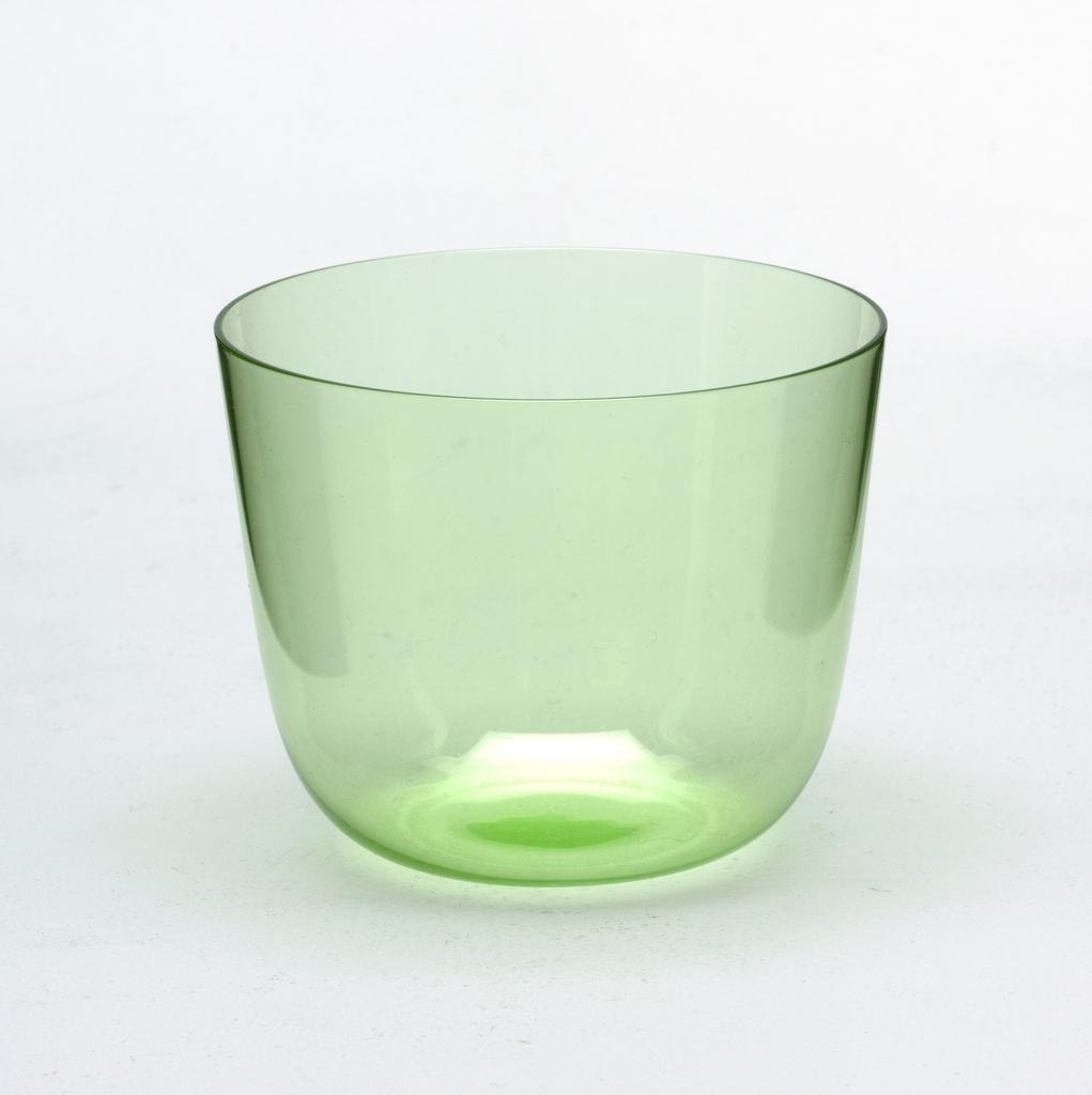 Thin mouth-blown crystal, pale smoke-grey cocktail tumbler.