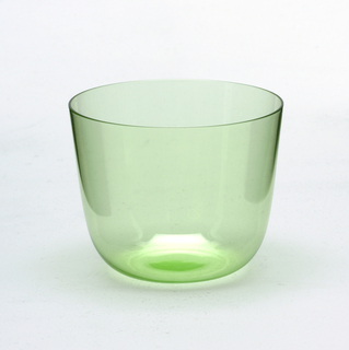 Thin mouth-blown crystal, pale smoke-grey cocktail tumbler.