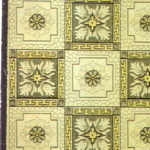 Tile design, alternating dark and light. Each tile element contains a rosette. Printed in shades of brown and yellow.