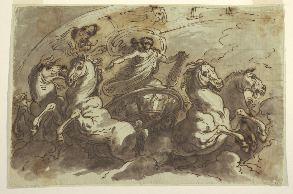 Horizontal rectangle. God driving in chariot with four horses, above clouds, suppporting lyre with left hand;  seen in front, above an arc with three signs of Zodiac: Lion, Virgin, Scales.
