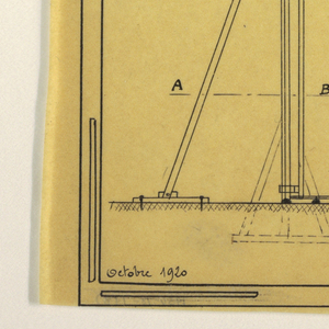 Design for a mass-operational house by Guimard. This design shows the construction directions for support elements