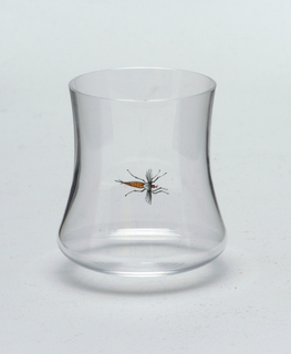 Crystal shot tumbler with concave sides and painted fly.