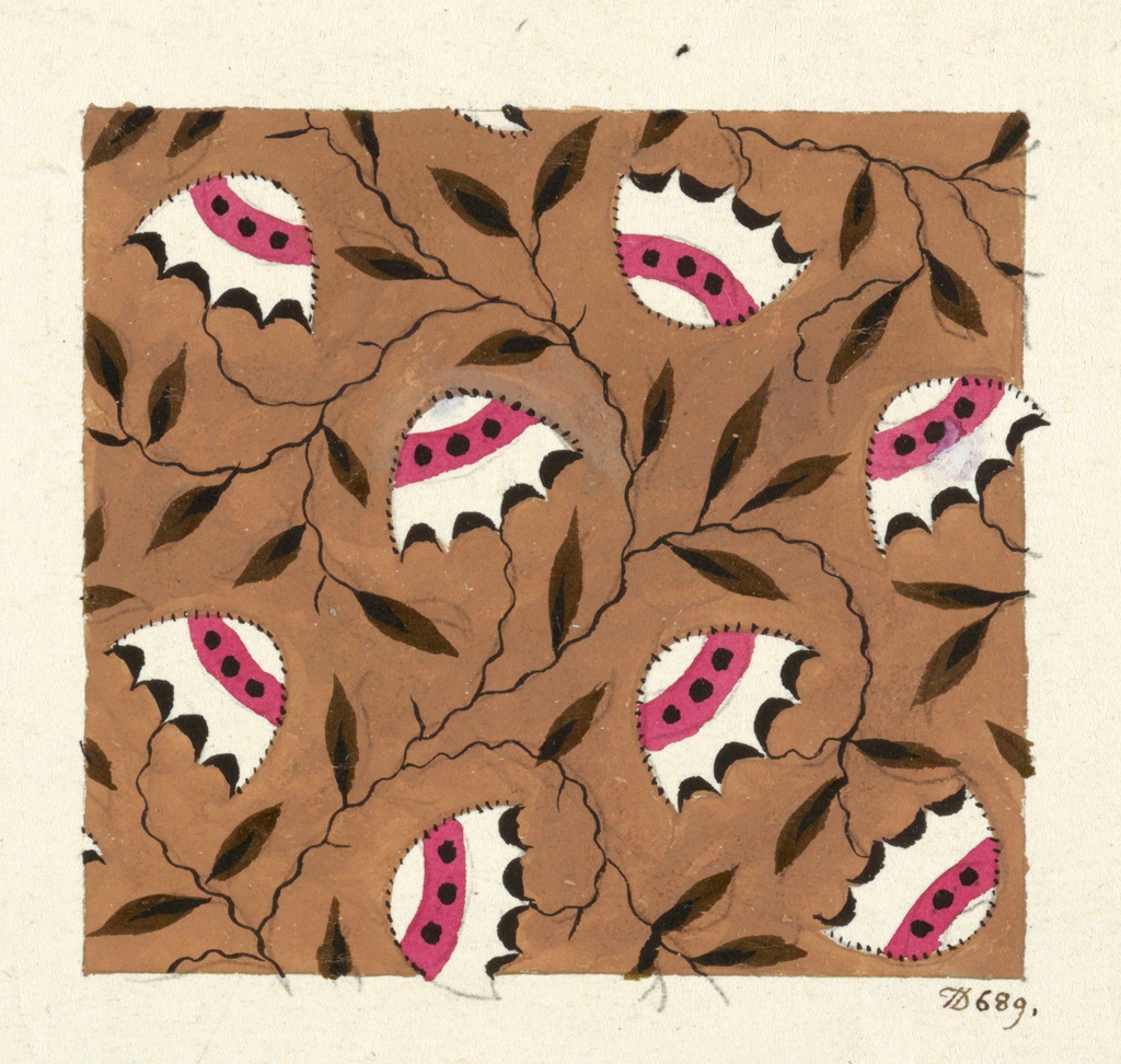 Pink and white beehive-shaped designs, black leaves on tan ground.