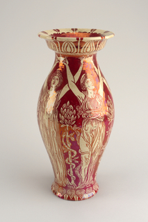 Tall urn with flared  foot and narrowed neck supporting collared, flared rim. Red lustre decoration on ivory ground, showing classical female figures.