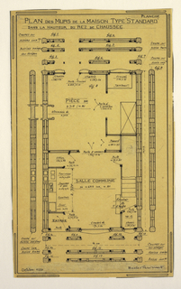 Design for a mass-operational house by Guimard, detailing the construction and height of the walls on the ground floor.