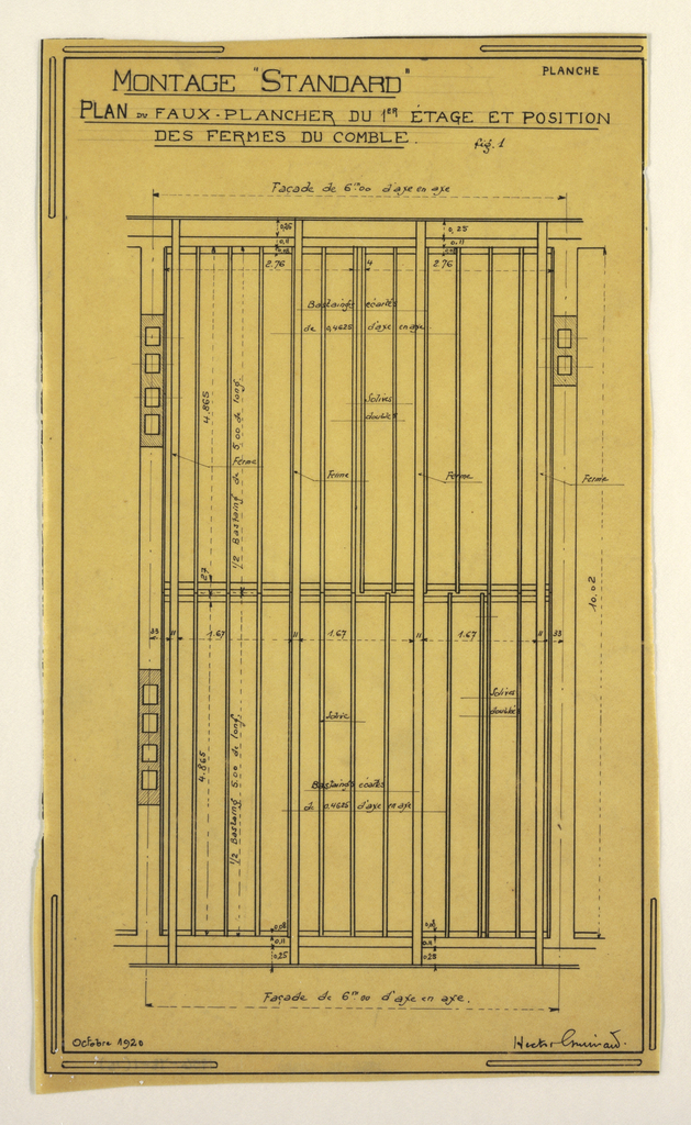 Design for a mass-operational house by Guimard, detailing construction directions.