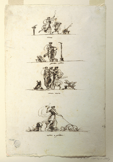 "Vertical rectangle. Top row: ""Diana."" The goddess runs with the bow toward right. A boy with the quiver runs before her. Second row: ""Giunone e Giove."" A standing woman with a disk, between a book at left, a candelabrum at right. third row: ""Venere e marte."" The three graces between a trophy of arms at left, a pair of doves at right. Bottom row: returno e galatea."" Galatea riding in a shell drawn by dolphins. Reverse, horizontally, Venus and Mars, sitting upon a bed."