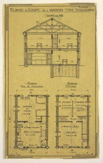 Design for a mass-operational house by Guimard. This design showns a cross section and floor plan of the house.