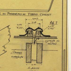 Design for a mass-operational house by Guimard, detailing the roof covering.