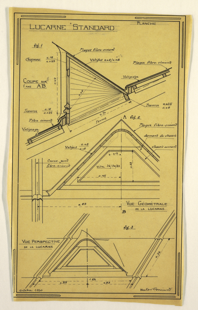 Design for a mass-operational house by Guimard, detailing the construction of a skylight.