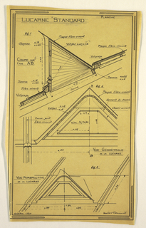 Drawing, Design for a Mass-Operational House Designed by Hector Guimard, Skylight Construction