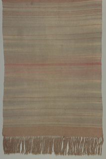 Runner with gray and gray-pink warp and weft of various shades of pink grouped and scattered across the ground.