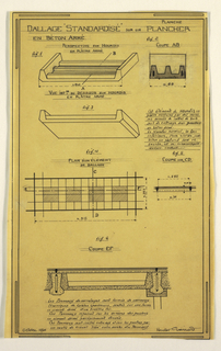 Design for a mass-operational house by Guimard, detailing the construction of the covering of the supports.