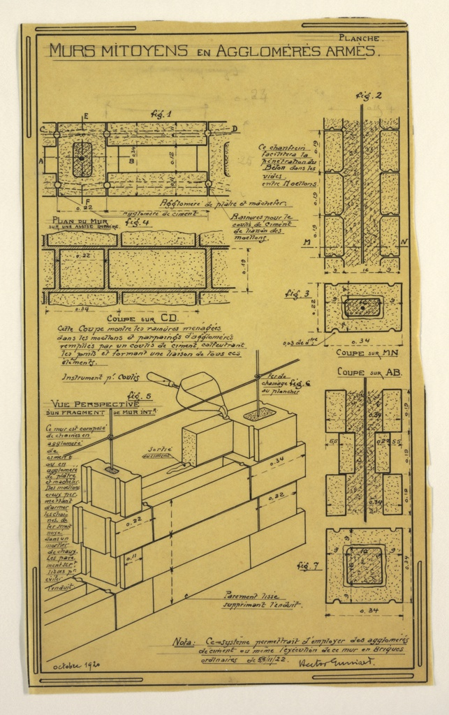 Design for a mass-operational house by Guimard, detailing the construction of the walls.