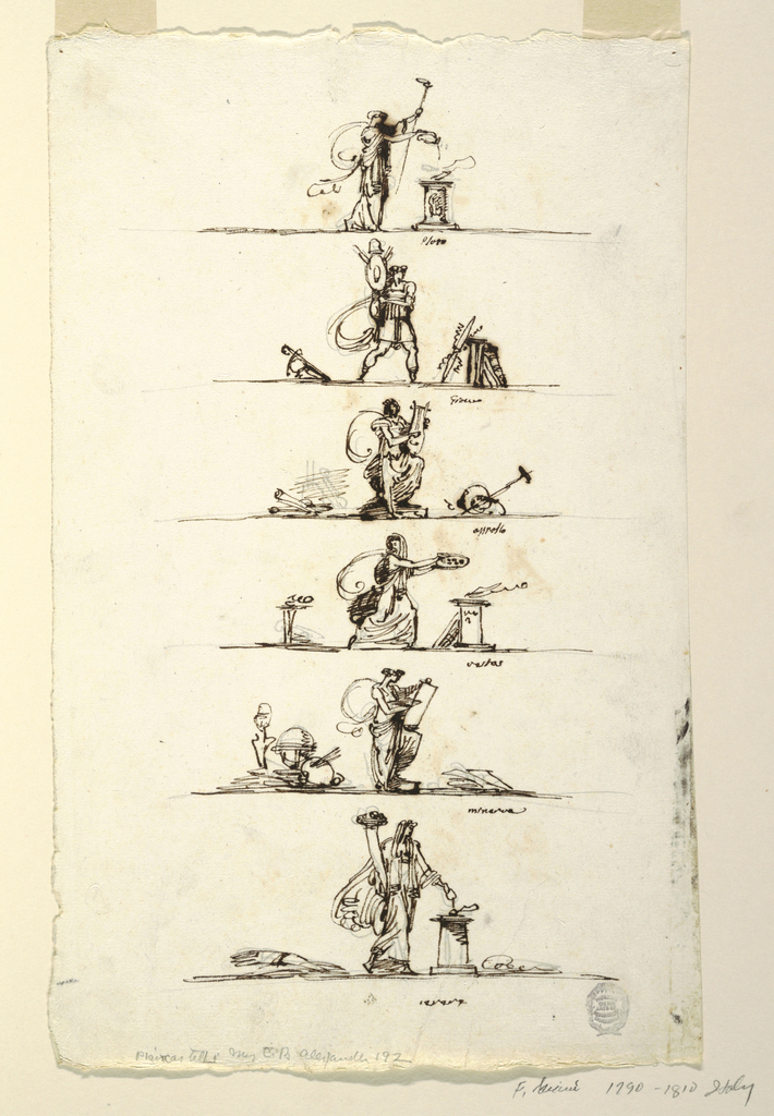 """Vertical rectangle. One below the other, standing upon a line. A sacrificing woman, carrying in left hand torch; caption: """"Pluto."""" Warrior walking carrying trophy; between two trophies, right one composing thunder-bolt; caption: """"Gione"""" Apollo standing and playing lyre; at left, rolls lying, at right, other objects; caption: """"Apollo."""" Woman hurries to sacrifice at altar; black chalk: the stake upon which Hercules lies is lighted."""