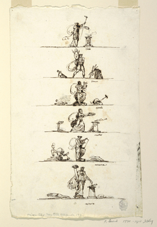 "Vertical rectangle. One below the other, standing upon a line. A sacrificing woman, carrying in left hand torch; caption: ""Pluto."" Warrior walking carrying trophy; between two trophies, right one composing thunder-bolt; caption: ""Gione"" Apollo standing and playing lyre; at left, rolls lying, at right, other objects; caption: ""Apollo."" Woman hurries to sacrifice at altar; black chalk: the stake upon which Hercules lies is lighted."