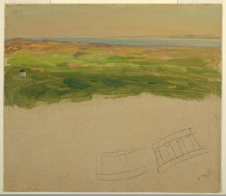 Top half: view of the sea and a mountain range in the right background, across hilly country.  A circular structure is shown in the left foreground.  Bottom half: Grayish ground color.  Two pencil sketches represent possibly a curved row of columns standing upon a platform and supporting an entablature.